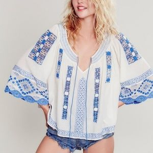 Free People Silver Springs Peasant Blouse - RARE